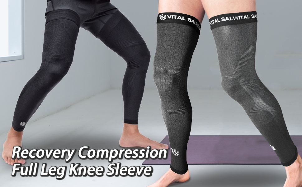 compression recovery full length leg knee thigh sleeve support dark grey black basketball outdoor