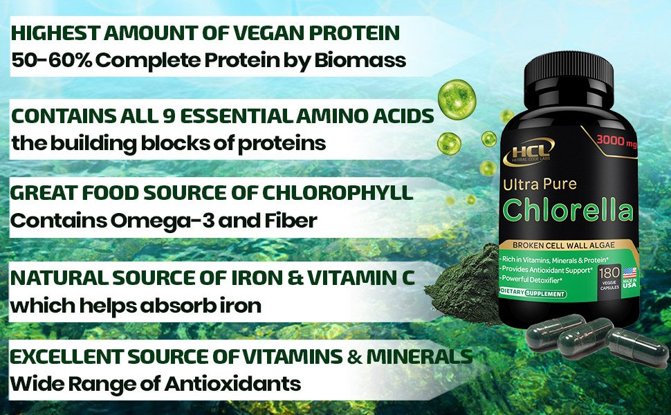 chlorella spirulina organic supplement capsules pills organic protein hcl herbal code labs superfood