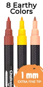Extra Fine Tip Chalk Markers - Pack of 8 Earthy Color Pens