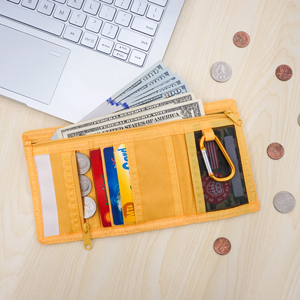 Yellow trifold wallet with zipper compartments card slots for cash credit card coin paper note coins