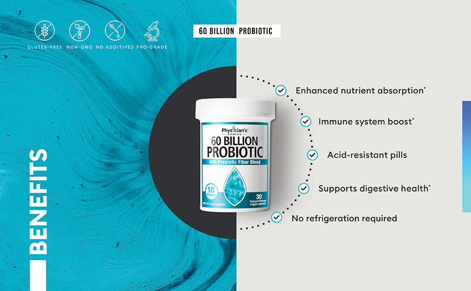60 billion probiotic prebiotic benefits digestive health