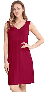 Women's Bamboo Sleeveless Nightgowns Soft Pajamas Sleep Dress V Neck Sleepshirt
