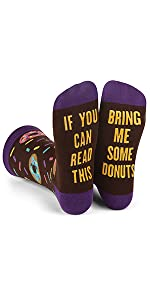 if you can read this, funny socks, men, women, donuts,