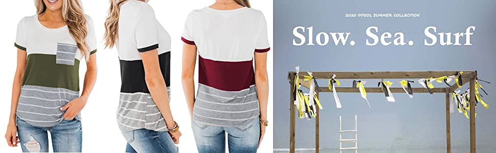 Color Block Stripe T Shirt