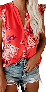 Floral V Neck Ruffle Sleeve T Shirts