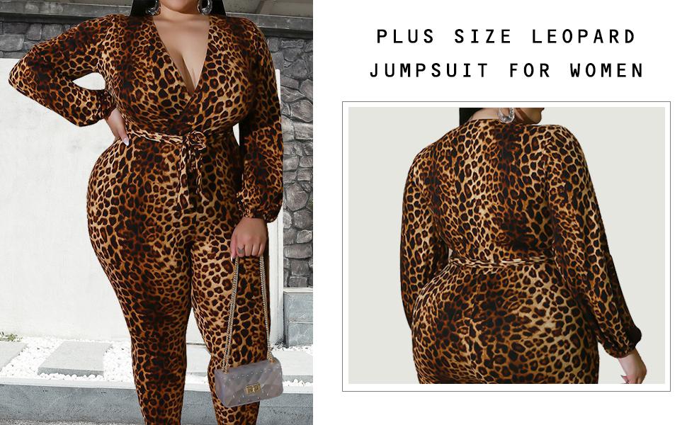 Plus Size V Neck Leooard Jumpsuit for Women