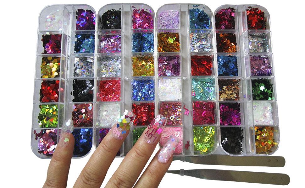 nail glitter acrylic kit,nail art glitter shapes,holographic anil decorations, chunky nail glitters