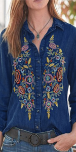 Women embroidered Tops Shirts