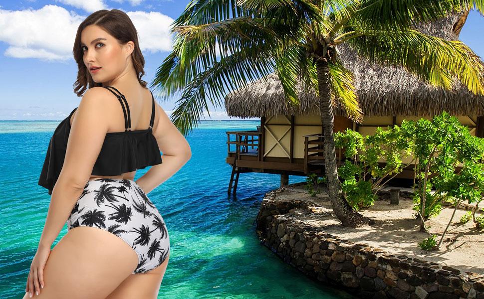 Women Plus Size Bikini Set Two Piece Swimsuit Ruffle High Waist Swimwear