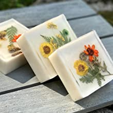 soap with pressed flowers