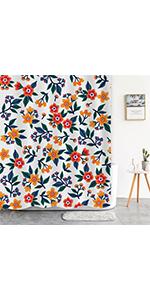 boho flower shower curtain