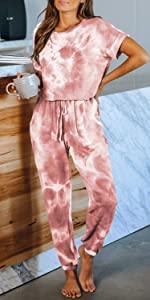 jumpsuits women tie dye pajamas set