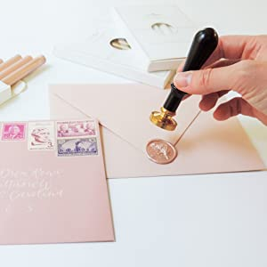 rosemary wax seals stamp wedding invitations