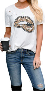 EZBELLE Women's Lip Leopard Print Short Sleeve Tops Distressed Funny Cute Graphic T Shirt