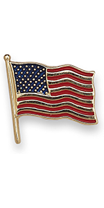 JewelryWeb Solid 14k Yellow or White Gold Enamel American Flag Lapel Pin for Men