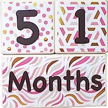 Milestone age baby blocks monthly picture photo girl gold pink sharing gift keepsake