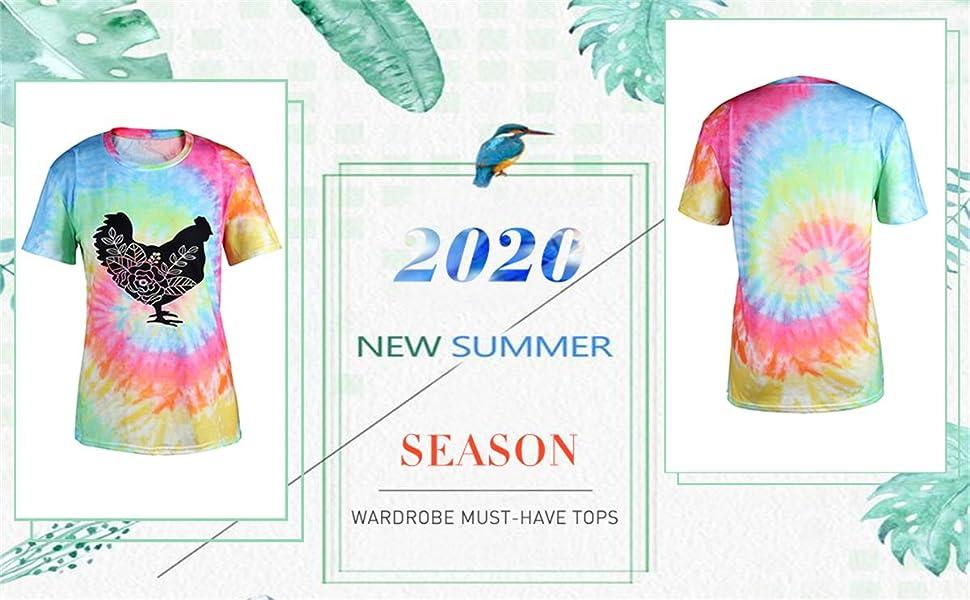 Women's rainbow spiral tie-dye style shirt top