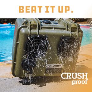 crushproof waterproof bluetooth speaker portable outdoor rugged loud speakers demerbox stereo sound