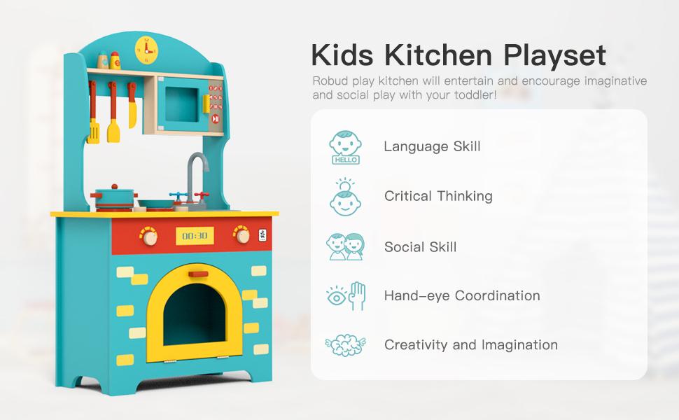 Robud Wooden Play Kitchen Set