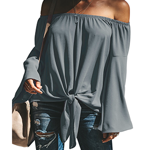Solid Off Shoulder Bell Sleeve Shirts