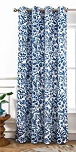 Julia watercolor floral curtain 52 84 navy