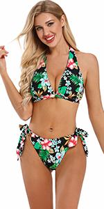 Women's Halter Neck Triangle 2 Piece Bikini Bathing Suit