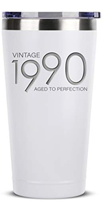 1990 30th Birthday Gifts for Women Men - 16 oz White Insulated Stainless Steel Tumbler w/Lid