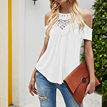womens summer tops cold shoulder shirts for women halter tops flowy tank tops for women cute lace