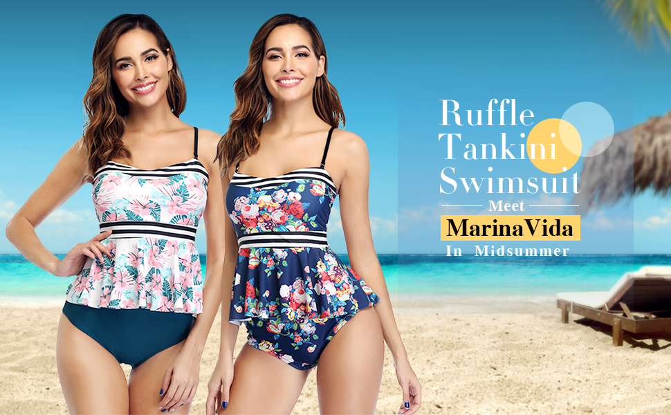Ruffle Tankini Swimsuit