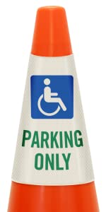Handicapped Parking Only Traffic Cone Message Collar, Prismatic Reflective PVC