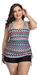 Women Plus Size Tankini Swimsuit Geometric Bathing Suit Top with Shorts Athletic 2 Piece Swimwear
