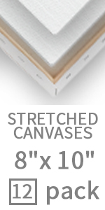 white stretched canvas 8x10 inch -12 pack