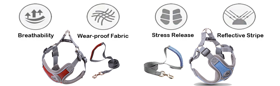 Dog harness red&blue features: breathability,wear-proof fabic,stress release,reflective stripe