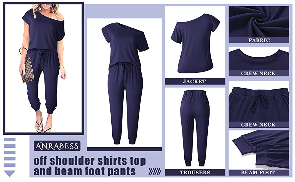 Women's Causal 2 Piece Outfits Jumpsuit Off Shoulder Boat Neck Tops Pants Set Romper with Pockets