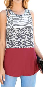 Womens Sleeveless Tunic Tank Tops Loose Flowy Color Block Camisoles