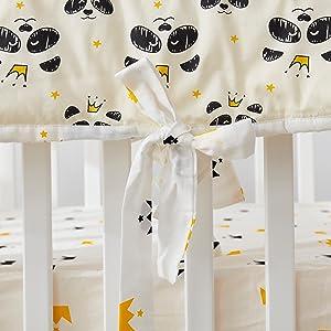 panda crib rail cover white black