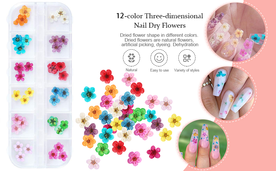 unime nail art dried flowers