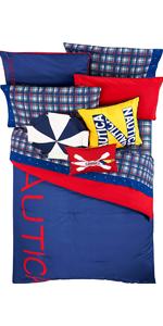 Nautica Kids Colorblock 100% Fine Imported Cotton Comforter Set (Ultra Marine Red, Full)