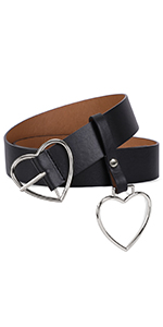 women heart buckle belt