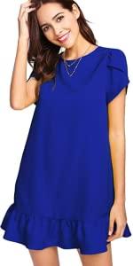 Blue Ruffle Hem Dress