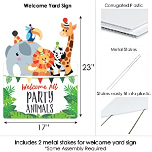 Jungle Party Animals Safari Zoo Baby Shower Birthday Bday Party Welcome Yard Sign
