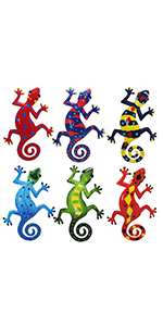 6 Pack Metal Gecko Wall Art