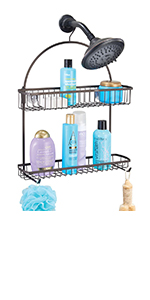 Center with Built-In Hooks and Baskets on 2 Levels for Shampoo, Body Wash, Loofahs