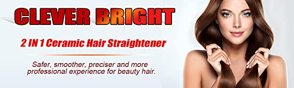 CLEVER BRIGHT 2 in 1 CHI Ceramic Hair Straightener and Flat Iron for Straightening and  Curling