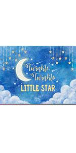 Blue Gold Twinkle Twinkle Little Star Photo Toddlers Night Moon Sky Backdrops