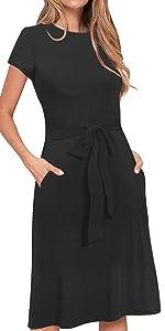 Casual Midi Dress Wtih Pockets
