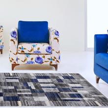 Modern patchwork blue rug