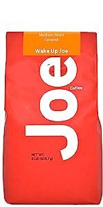 Bright red package. Medium roasted gourmet ground coffee.