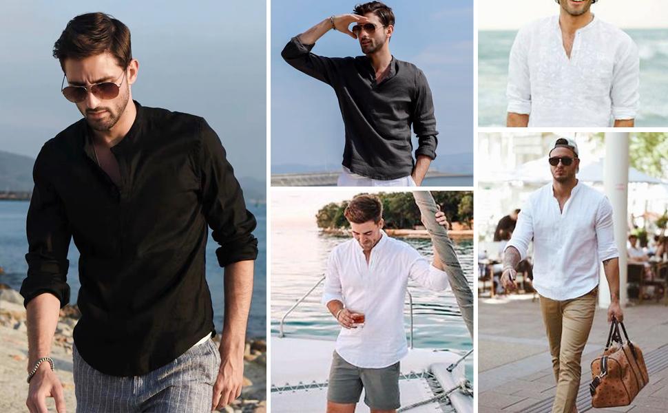 mens beach linen shirt