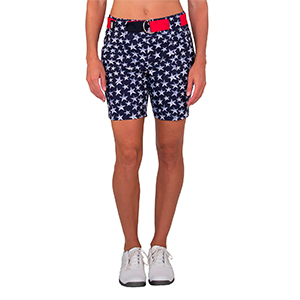 The patriotic star print is accented by the lipstick belt